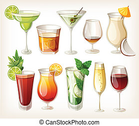 Collection of alcohol coctails and other drinks.