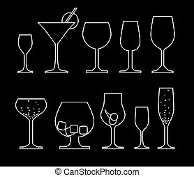 vector set of alcoholic drink