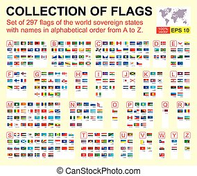 Collection of all official flags of the world,