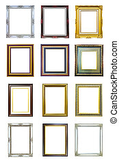 collection of ancient style wood photo image frame isolated