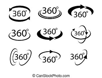 Collection of Angle 360 degrees sign icon, Geometry math symbol