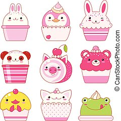 Collection of animal shaped desserts