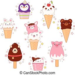 Collection of animal shaped ice cream