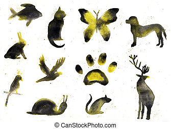 Collection of animal silhouettes, watercolor hand drawn illustration