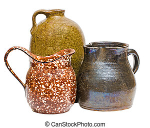 Collection of antique Depression-era clay containers with pitchers and jugs