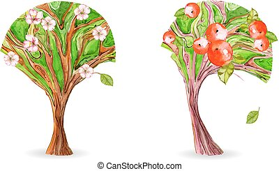 collection of art trees. flowering apple