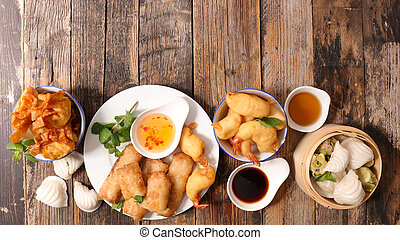 collection of asian food