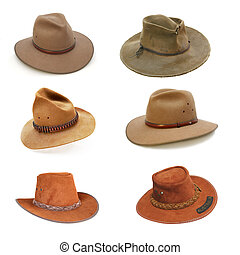 Collection of Australian bush hats, well isolated on white. (Please see my portfolio for full-size individual images.)