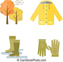 Collection of autumn clothes items