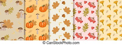 Collection of autumn pattern with doodle leaves