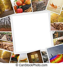 Collection of autumn photos with copy space
