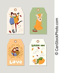 Collection of autumn tags template with hand drawn elements.