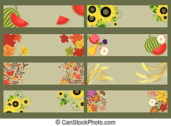 Collection of autumnal horizontal banners