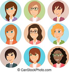Collection of avatars of various young women characters.