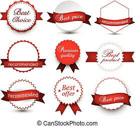 Collection of award badges.
