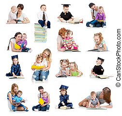 Collection of babies or kids reading a book. Concept of education from early childhood.