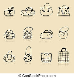 Collection of bags, sketch drawing for your design