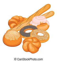 Collection of bakery products isolated illustration on white