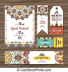 Collection of banners, flyers or invitations with geometric...