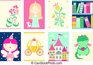 Collection of banners with cute fairy-tale characters