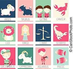 Collection of banners with cute zodiac characters