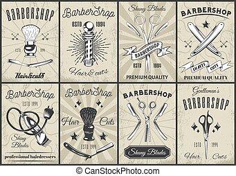 Collection of barbershop design posters, barbershop tools, instruments, equipment, symbols