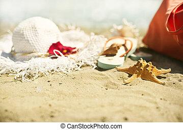 Collection of beach items - seastar, flip-flops, sunglasses...