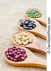 collection of beans seeds in wooden spoon.