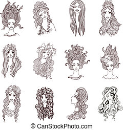 Collection of beautiful artistic girls. Doodle vector set.