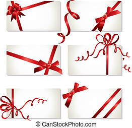 beautiful cards with red gift bows