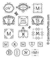 Collection of beautiful frames and vignette for wedding design, menu card, restaurant, cafe, hotel, jewellery store, logo templates, monogram