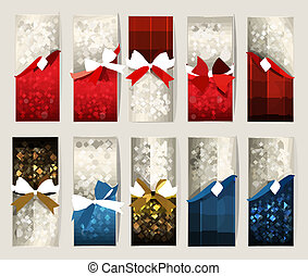 Collection of beautiful gift cards with color gift bows with ribbons Vector illustration.