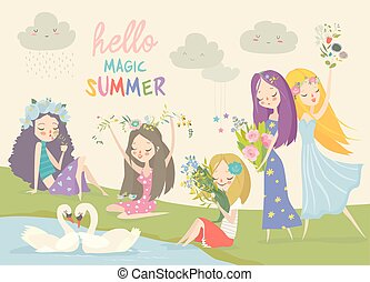 Collection of beautiful girls with summer flowers