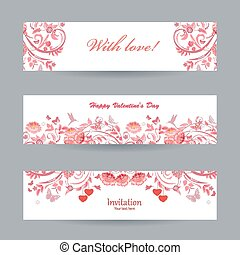 Collection of beautiful romantic banners. pink flowers