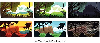 Collection of Beautiful Scene of Nature in Different Time of Day and Weather, Tropical Rainforest Horizontal Backdrops Vector Illustration