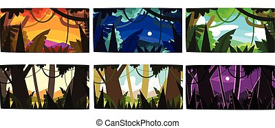 Collection of Beautiful Scene of Nature in Different Time of Day, Tropical Rainforest Horizontal Sceneries Vector Illustration