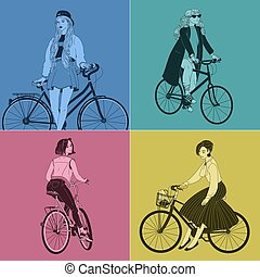 Collection of beautiful women dressed in clothes of different styles riding bicycles. Set of female characters on bikes drawn with contour lines on bright colored background. Vector illustration.