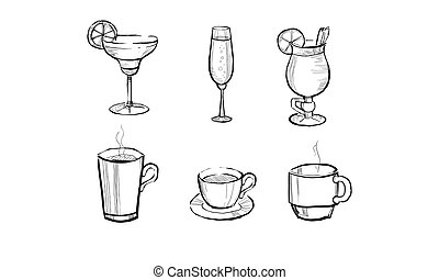 Collection of beverages and hot drinks hand drawn vector Illustration on a white background