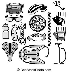 Collection of bicycle accessories vector line-art icons