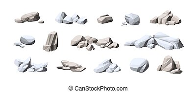 Collection of big and small heavy stones. Set of natural solid rocks. Composition of cobblestone piles. Cartoon vector illustration of gray boulders isolated on white background
