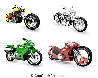 Collection of bikes isolated views - Isolated collection of...