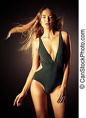 collection of bikini - Beautiful sensual woman with...
