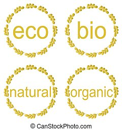Collection of bio and eco organic labels natural products