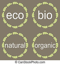 Collection of bio and eco organic natural labels and frames