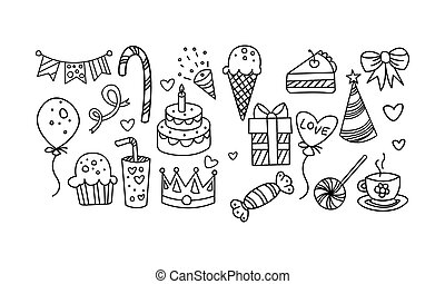 Collection of Birthday elements, hand drawn carnival festive symbols vector Illustration