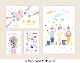 Collection of birthday greeting card, postcard or party invitation templates with happy people, cake with candles, person holding bouquet of flowers. Colorful flat cartoon vector illustration.