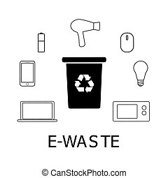 Collection of black and white icons of e-waste. Electronic garbage and bin with recycling marc. Vector concept