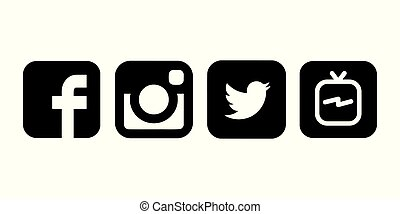 Collection of black and white popular social media logos ...