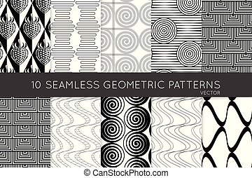 Collection of black and white seamless patterns