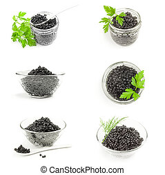 Collection of black caviar isolated on a white background cutout